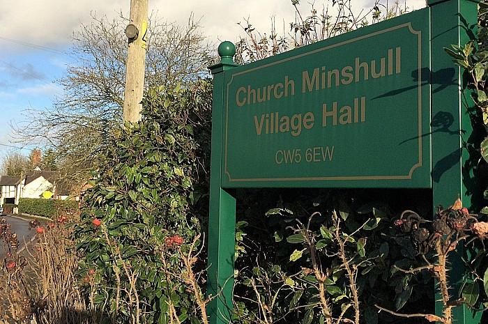 Church Minshull Village Hall sign