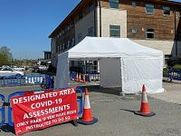 COVID-19 drive through assessment area set up in Nantwich