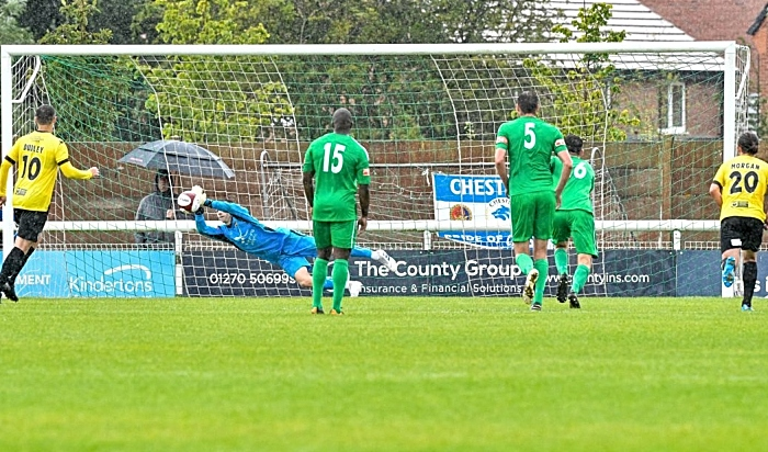 Cameron terry saves against Chester - pic by Nantwich Town FC