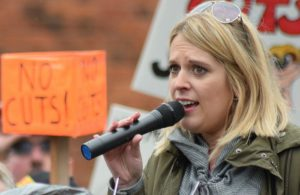 Campaign organiser Laura Smith speaks at the Cobbles