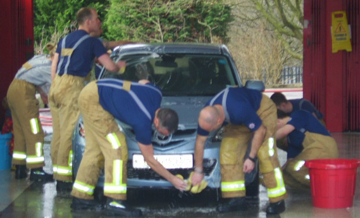 Car wash generic - fire crews in Nantwich