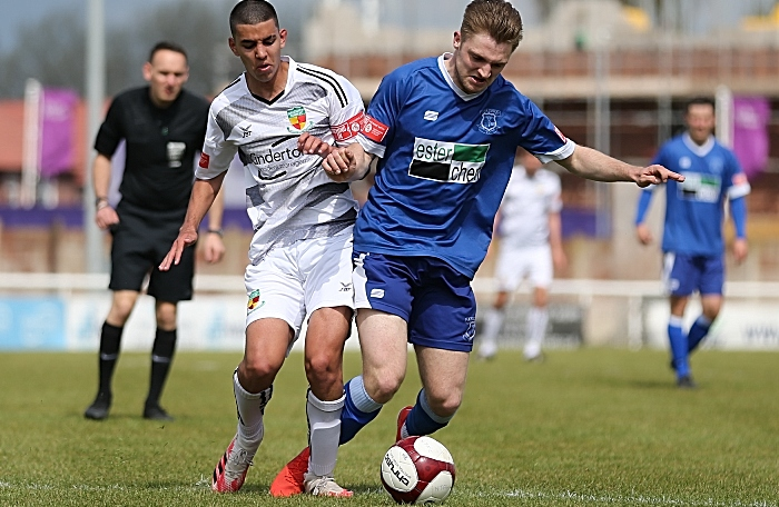 """Carlos """"Thommy"""" Montefiori fights for the ball for Nantwich Town (1)"""