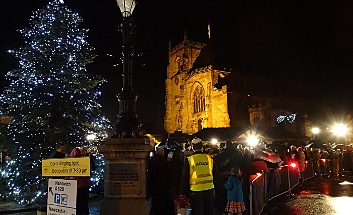 Carols in the Square - with the Christmas tree and St James Church in the background