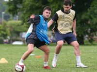 Nantwich Town players in pre-season training ahead of new campaign