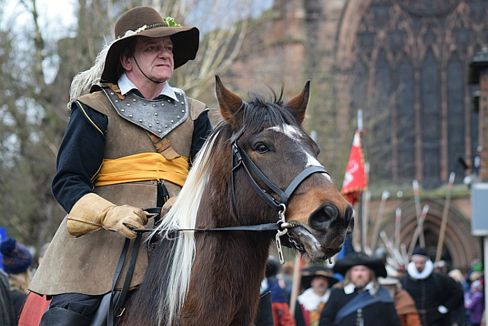 Cavalry man in the parade heading to Mill Island