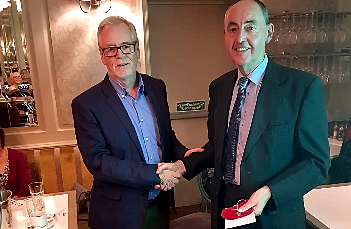 Chair of the Museum Board Nick Dyer (left) presents the Dutton Medal to Graham Dodd 141119 (1)