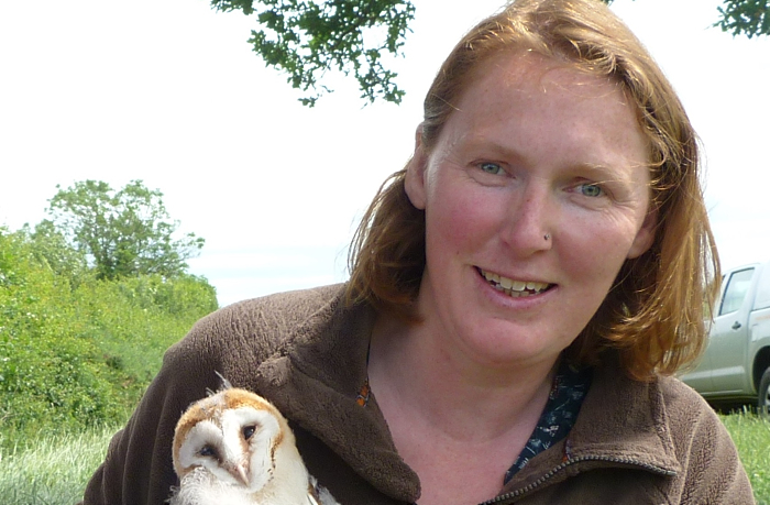 Charlotte Harris with one of the owl chicks (1) (1)