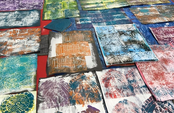 Cheshire College Visual Arts learners' block printing
