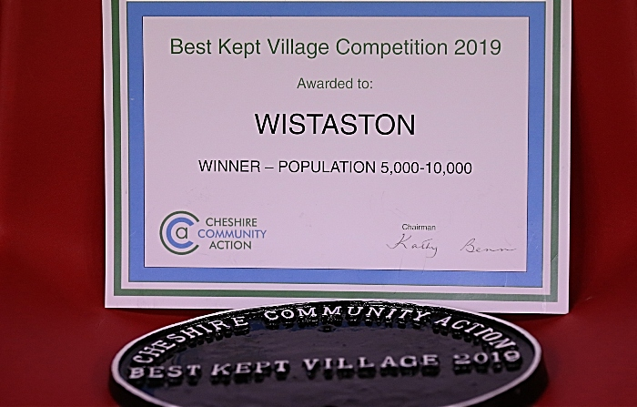 Cheshire Community Action 'Best Kept Village Competition 2019 - population 5,000-10,000' certificate and plaque (1)