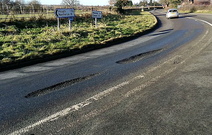 Cheshire East over pothole claim, Main Road in Weston
