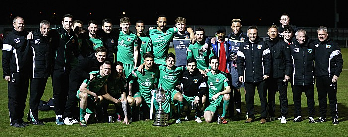 Cheshire FA Senior Cup 2017-18 winners and staff pose with the trophy