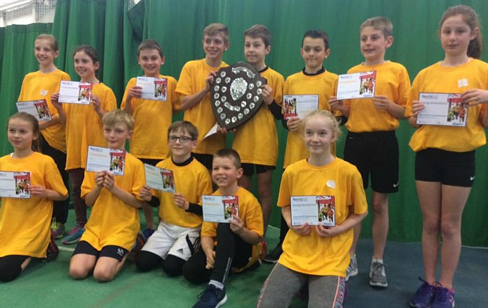 Cheshire U11s athletes at indoor sportshall regional finals