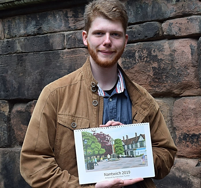 Christian Turner with his Nantwich 2019 calendar