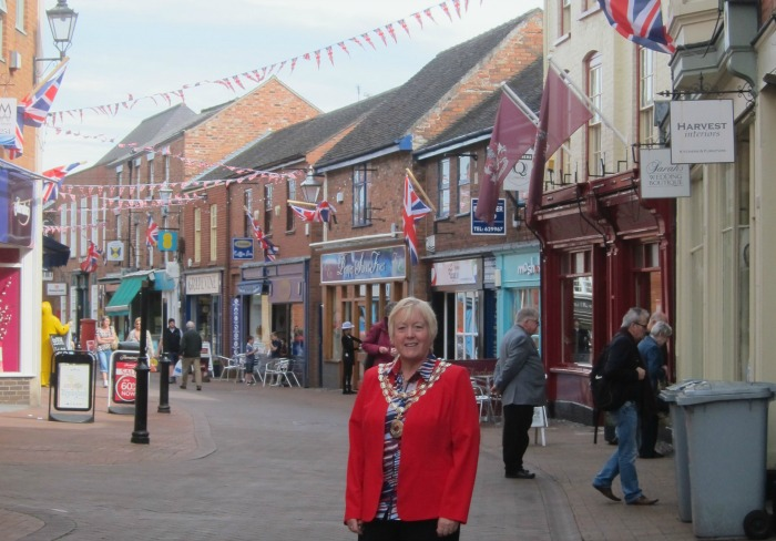 Christine Farrall and VE Day flags