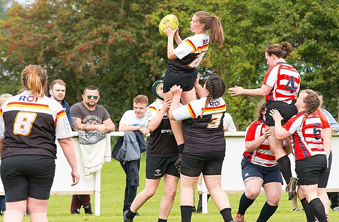 ladies rugby star - Christine Lawson gets the ball at a line-out for Crewe and Nantwich Ladies RUFC - photo by Sue Ridout