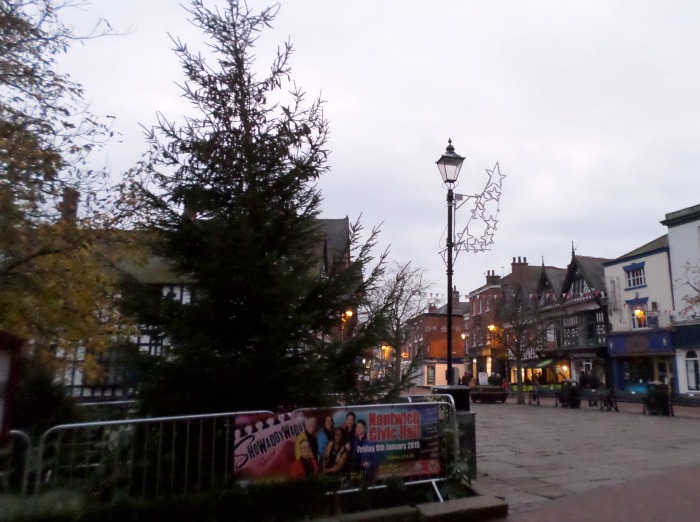 Christmas tree and lights in Nantwich town square