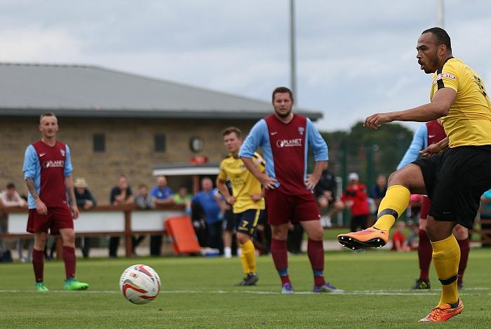 Clayton McDonald scores a penalty