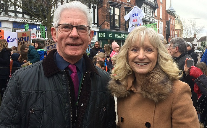 Cllr Arthur Moran and Malbank headteacher Jeanette Walker at school funding cuts protest