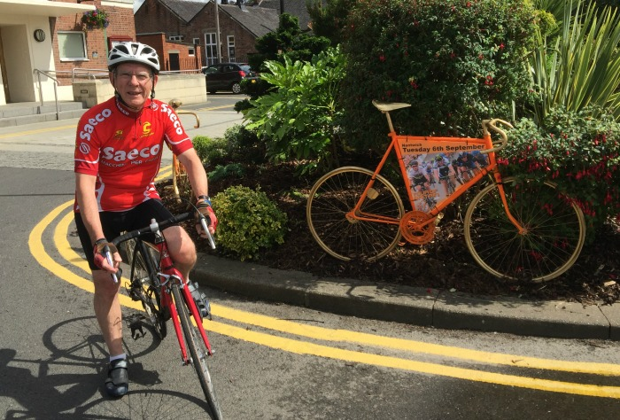 Cllr Arthur Moran, orange bikes, Tour of Britain