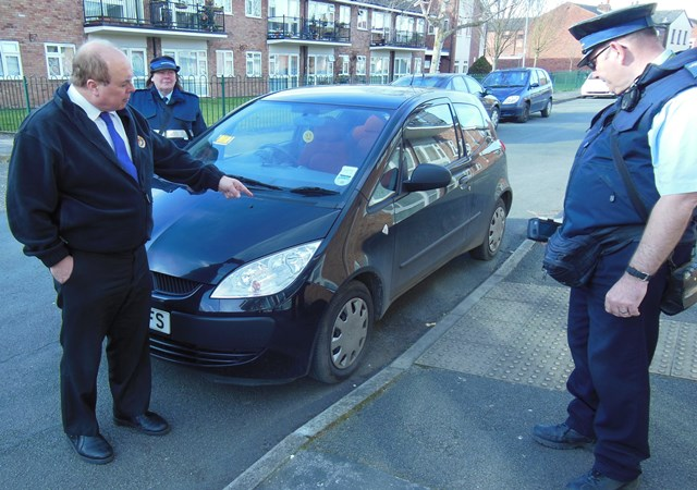Cllr David Marren and parkign enforcement officers in Nantwich