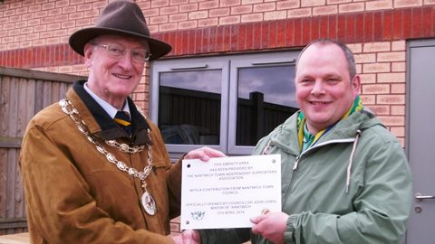 Mayor of Nantwich unveils new food area for Nantwich Town FC