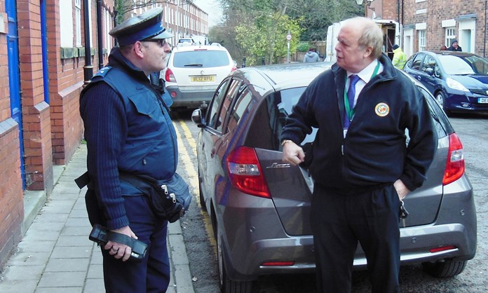 Cllr david marren with parking enforcement officers who could wear body cameras
