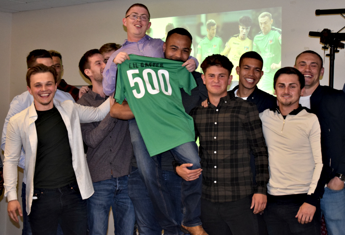 Club Secretary Carl Thorpe is congratulated by the squad for 500 matches at Nantwich Town FC