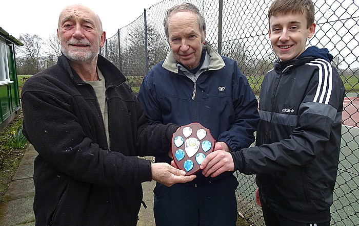 Co-organiser George Raiswell - far right handside - presents winning shield to Eric James and Rob Sheffield