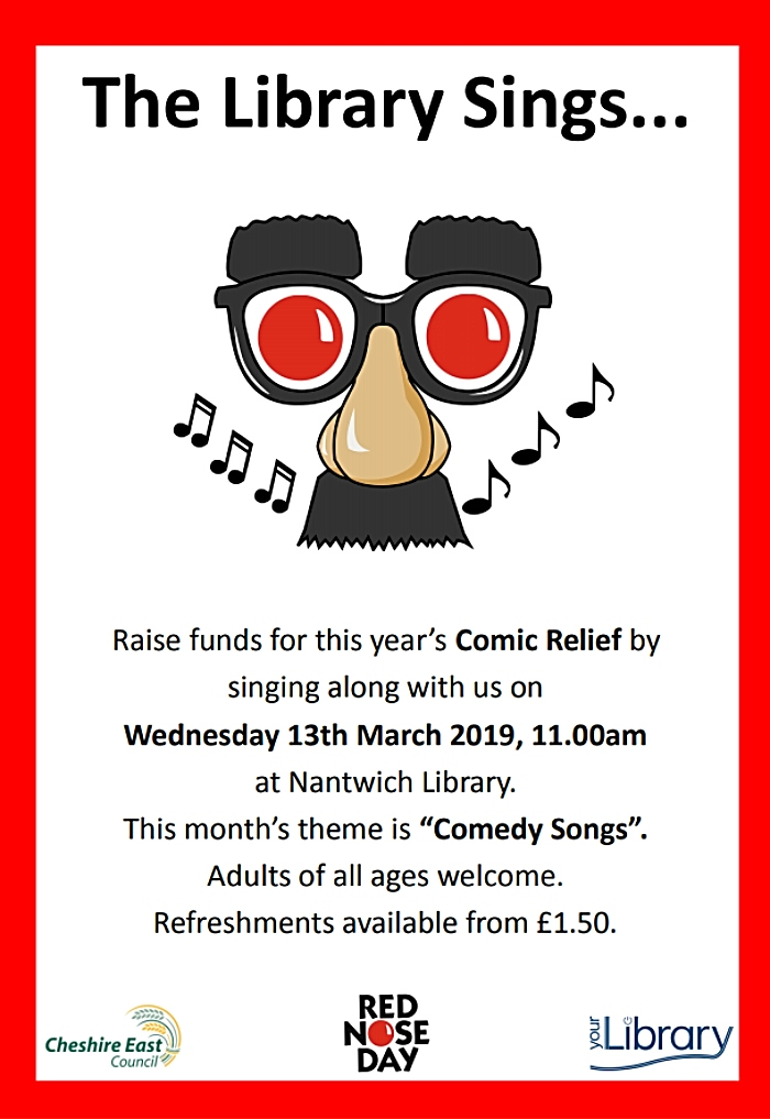 Comic Relief singing event nantwich library