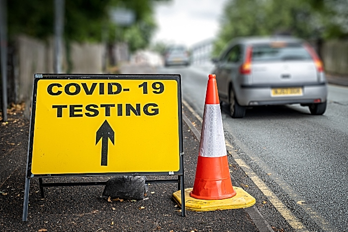 Covid testing sign in Crewe