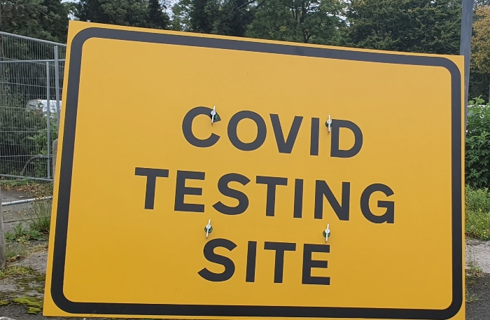 Covid testing site sign