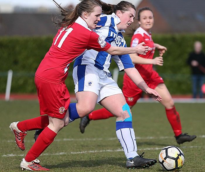 Crewe Alex Ladies vs Chester FC Women - Beth Grice holds off a challenge to score