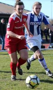 Crewe Alex Ladies vs Chester FC Women - both players eye the ball