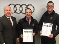 Crewe Audi staff celebrate accreditation 'treble' for business