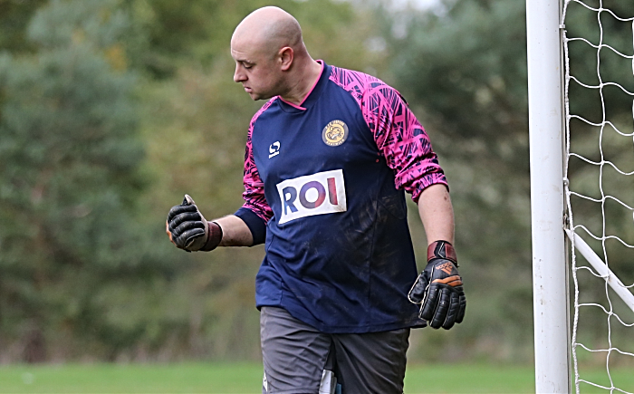 Crewe FA Sunday Cup - Sun 21-10-18 - Wistaston Leopard beat Faddiley 4-3 on penalties - Leopard keeper celebrates saving a penalty in shootout