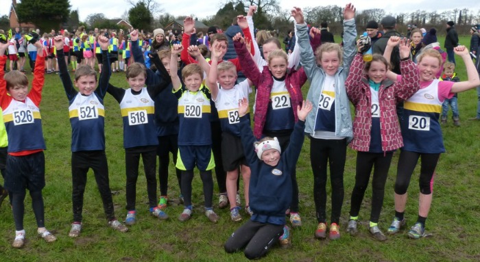 Crewe & Nantwich U11s girls and boys celebrate medals at Cheshire Cross country Championships