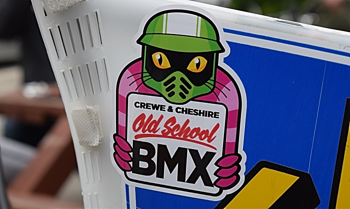 Crewe and Cheshire old school BMX group logo sticker on a participants BMX (1)