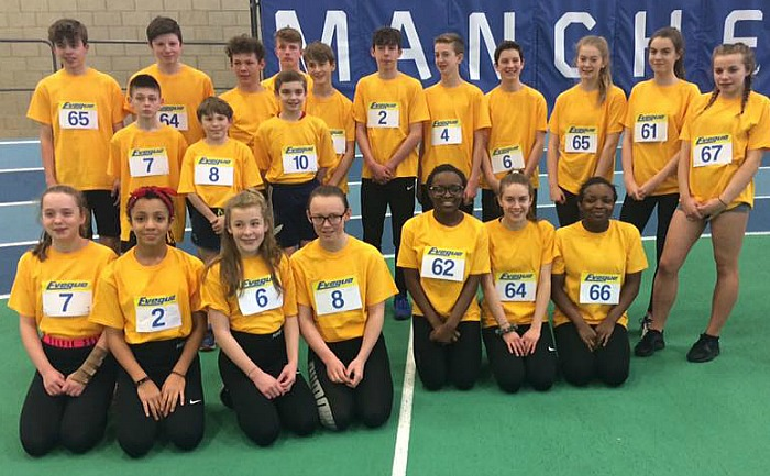 Crewe and Nantwich U13s and U15s representing Cheshire at sportshall regional finals in Sportcity