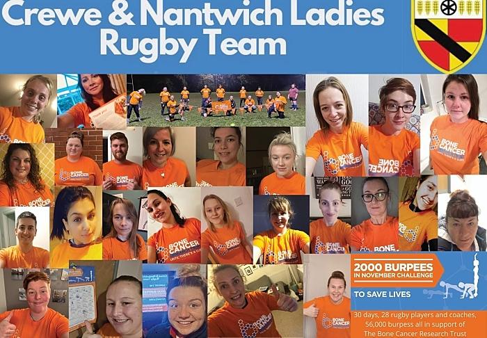 Crewe and Nantwich ladies teams rugby burpees challenge