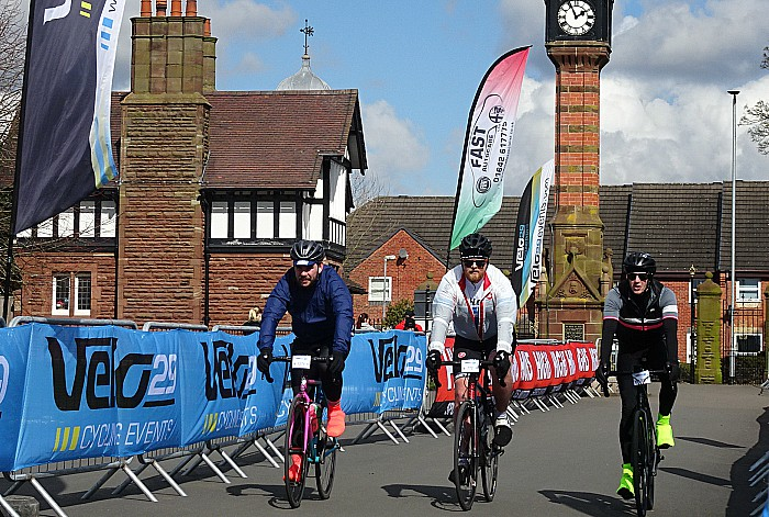 Sportive - Cyclists approach the finish line within Queens Park Crewe