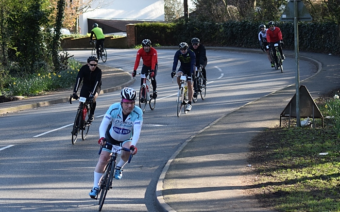 Cyclists descend the bank on Valley Road in Wistaston (1)