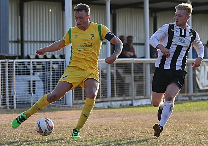 Dabbers captain Toby Mullarkey prepares to cross the ball