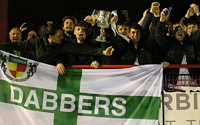 Dabbers fans celebrate victory with the Cheshire Senior Cup (1)