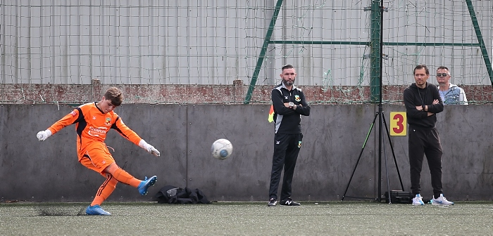 Dabbers keeper punts forward until gaze of manager Colin Carruthers and his assistant Chris Dawson (1)