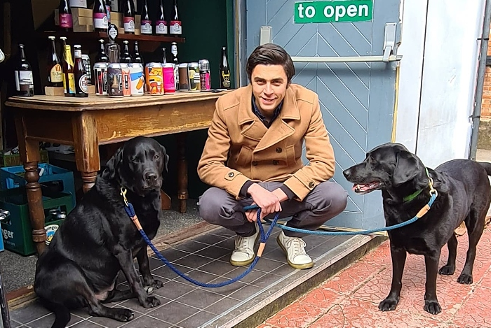 dog friendly - Dale Robson with Denzel and Welly at Ebenezer's Craft Beer & Gin in Nantwich after the dogs were safely found (1)
