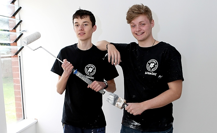Dan Bradley, 16, left and Ollie Glendining, 17 - NCS volunteers