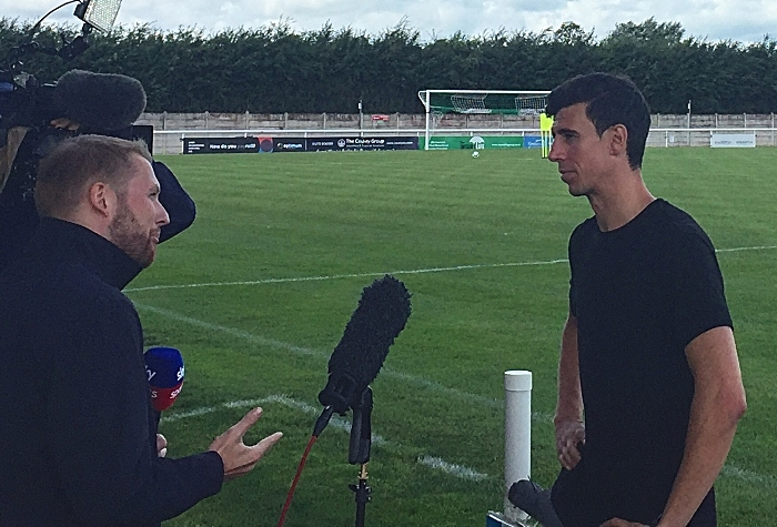 Daniel Ayala training with Nantwich Town, being interviewed pitch side