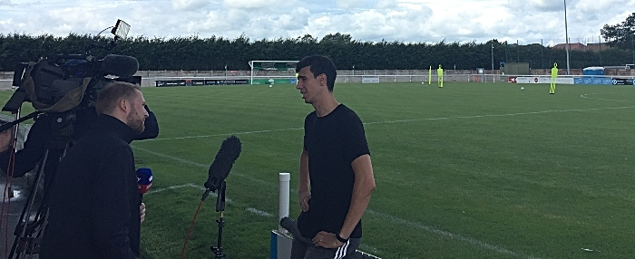 Daniel Ayala at nantwich town weaver stadium interviewed by Sky