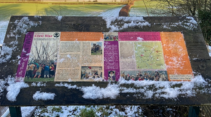Display board on the bridge over the Shropshire Union Canal near Acton Church with views of Henhull battlefield (1)