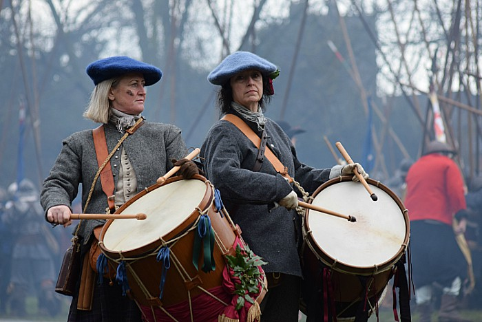 Drummers bang their orders during the battle